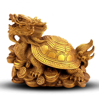 Feng Shui Chinese Folk Culture HandMade Pure Bronze statue Dragon Turtle Ornaments Home Decor Bring Wealth Fortune Good Luck