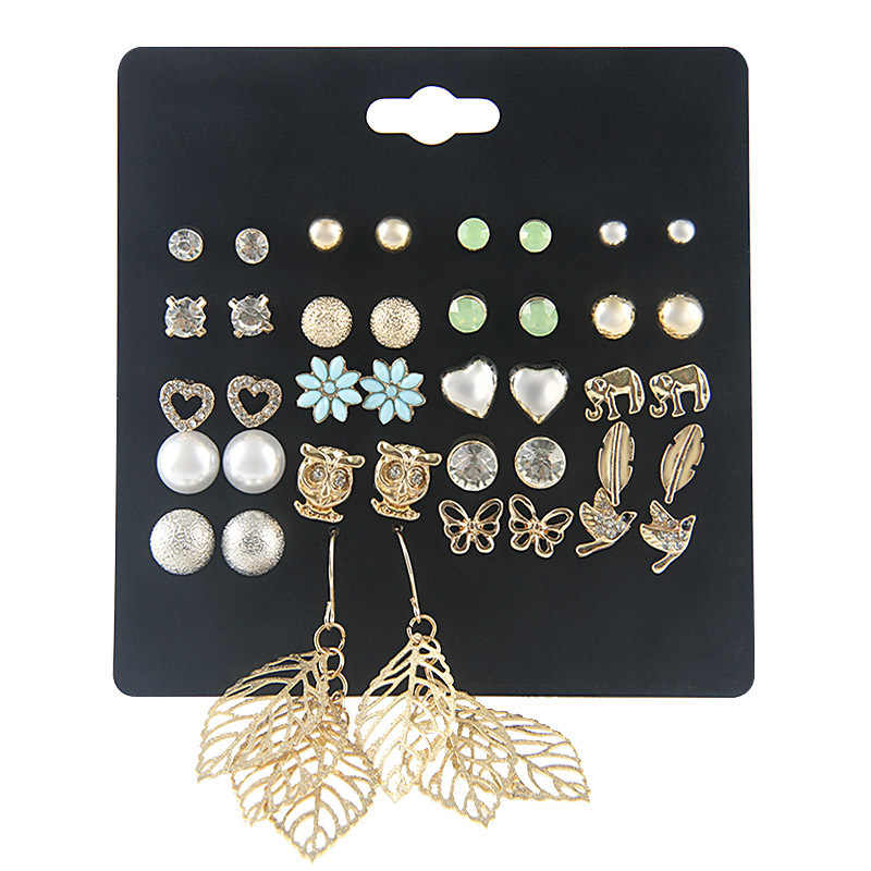 Fashion Punk Earrings For Women Mixed Owl Flower Leaf Heart Shaped Stud Earrings Set 20 Pairs/lot Wholesale Pendientes Mujer