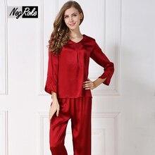 New Spring 100% silk pyjamas women long sleeves sexy red pajamas sets for women elegant Pure color women sleepwear pijamas mujer