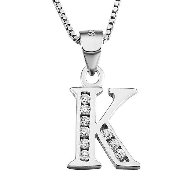 925 Sterling Silver Biżuteria Wisiorek Naszyjnik Litera K Dla