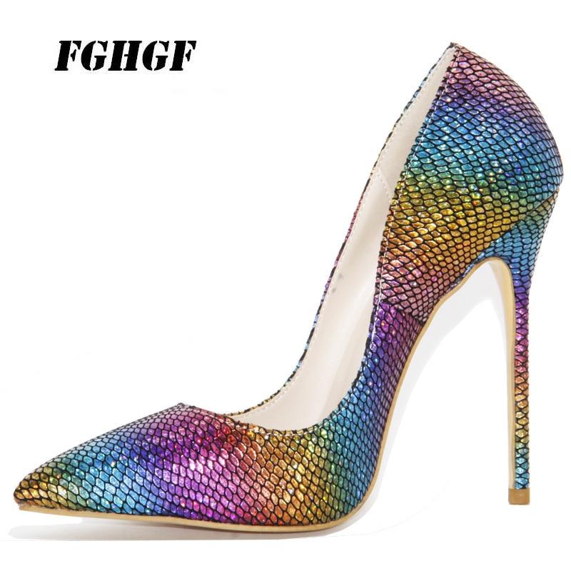 2018 fashion women pumps Fashionable 7 colourful snake grain high heeled shoes women s shoes 12cm