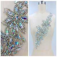 hand made clear AB colour crystal patches trimming Rhinestones applique on mesh 41*13cm for top dress