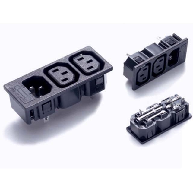 10pcs/lot three way socket IEC320 C14 Inlet 2way C13 Outlet Power ...