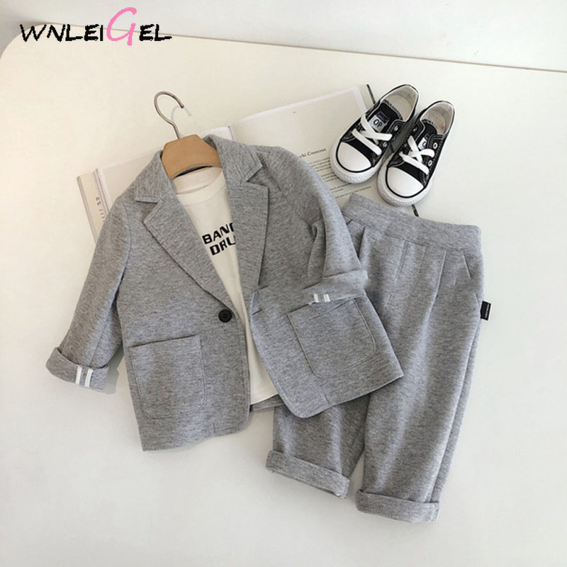 2PCS WLG Boys Blazers Kids Boys Spring Autumn Gray Black Casual Suits Baby Clothes Children