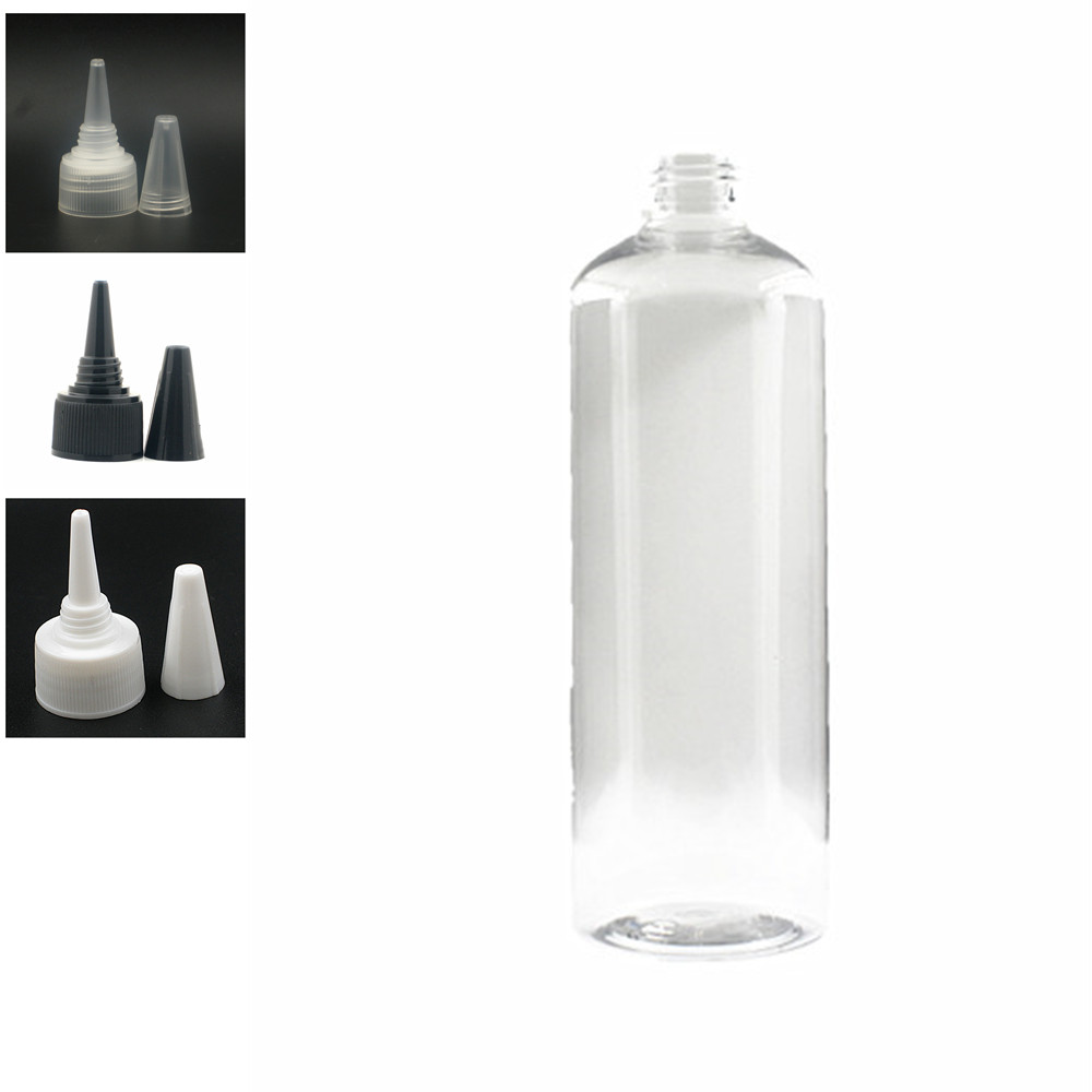 500ml Empty Plastic Bottle , Clear Pet Bottle With Black/white/transparent Twist Top Caps, Pointed Mouth Top Cap