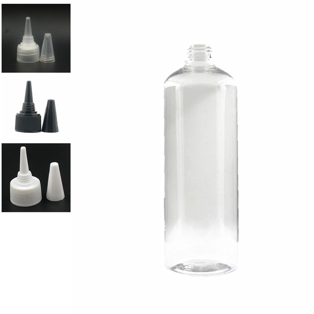 500ml Empty Plastic Bottle , Clear Pet Bottle With Black/white/transparent Twist Top Caps, Pointed Mouth Top Cap