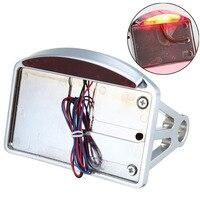 Motorcycle Chrome License Number Plate Taillight Side Mount LED Tail Brake Light For Harley Chopper Custom