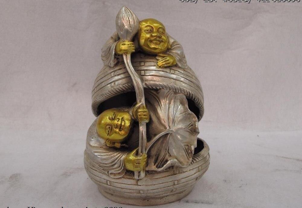 6 Chinese Palace White Copper Silver Gild Lotus Hop Immortals God Budddha Statue