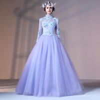 XIANSHOUMEI Lace Crystal Appliques Prom Dresses Woman High Neck Full sleeve Floor Length Ball Gown Evening Party Dress