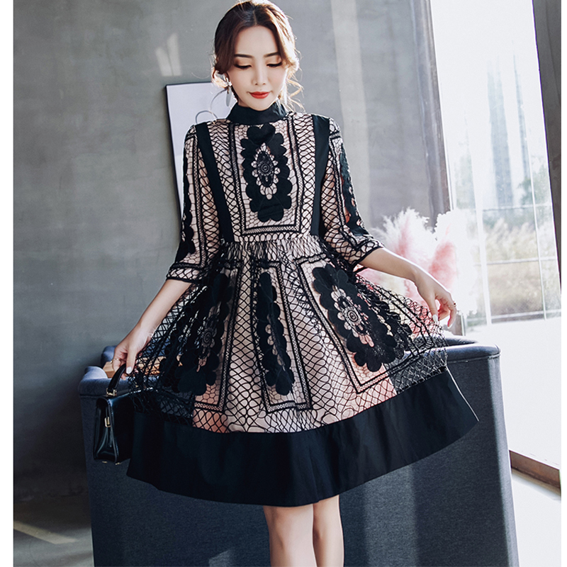 2018 women spring autumn new arrived elegant vestidos bodycon vintage party lace hollow out runway dress