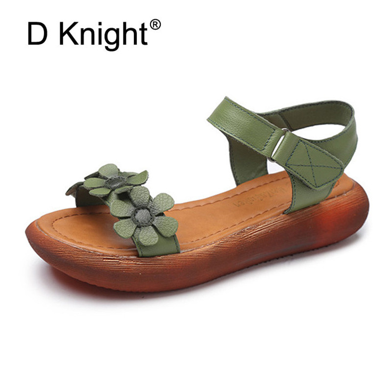 New 2018 Women Genuine Leather Flat Sandals Fashion Open Toe Ankle Strap Gladiator Sandals For Women Summer Platform Shoes Green xiuteng summer flat with shoes woman genuine leather soft outsole open toe sandals flat women shoes 2018 fashion women sandals