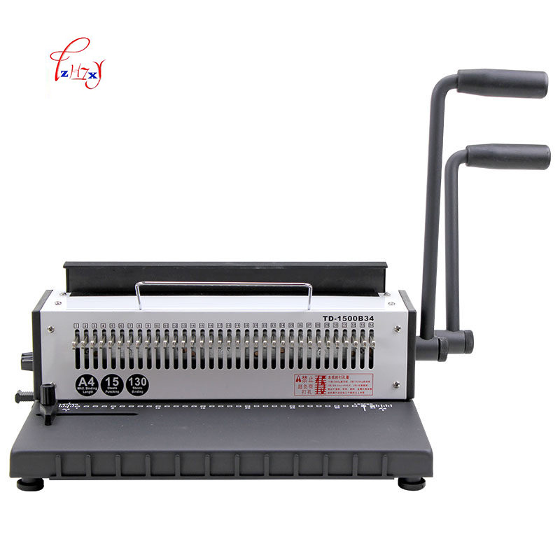 34Holes Manual Wire binding machine Metal Spiral Wire Spool Binding Machine A4 Binder Puncher machine 1pc 1pc gd 30 book binding machine financial credentials document archives binding machine manual drill blue green