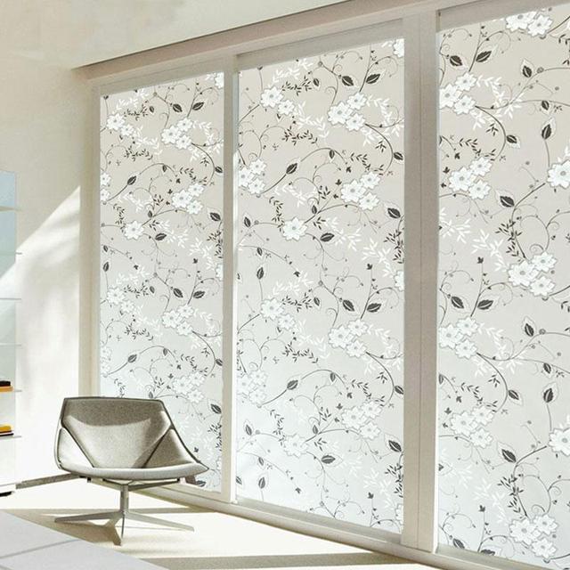 Fosco adesivo de vidro de janela flores casa decora es de - Pegatinas para cortinas ...
