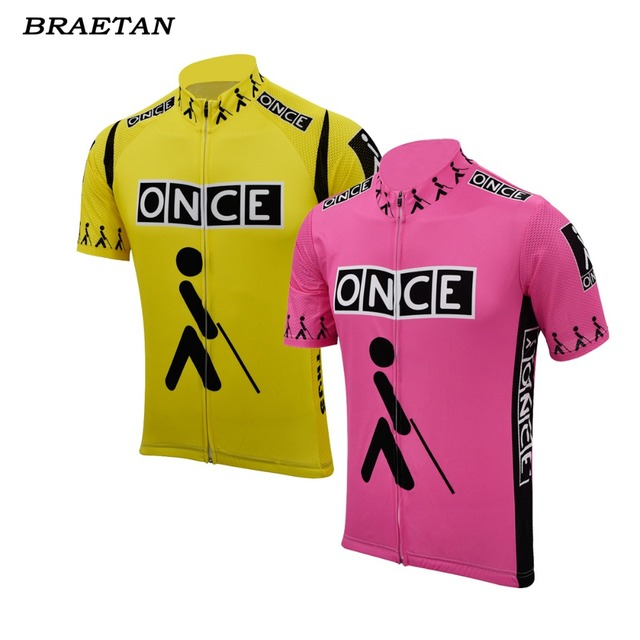 cb90dc0a5 once cycling jersey pink yellow retro clothing cycling wear summer classic  bicycle clothes cycling clothing hombre braetan