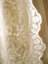Cream Lace Fabric , Retro Embroidered Fabric, French Bridal Scalloped