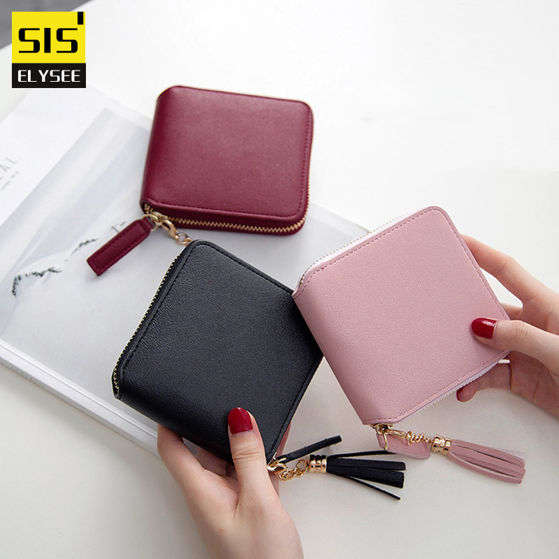 High Quality Women Small Wallet Cow Leather Lady Short Coin Purse Multicolor Credit Card Holder Designer Brand Tassel Money Bag new 2017 pink hollow leaf short wallet women wallets small purse for girls credit id card holder money coin bag christmas gifts