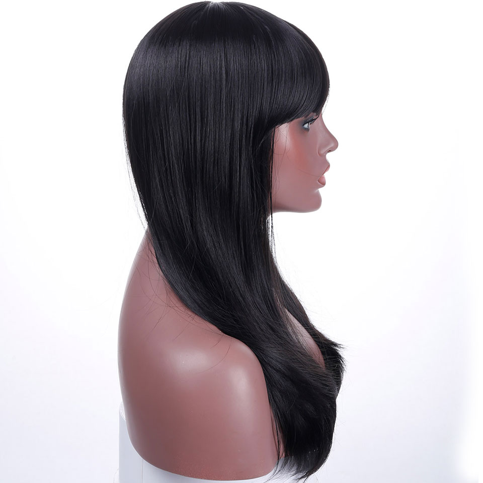 JINKAILI WIG Black Long Straight With Bangs Cosplay Party Heat Resistant Synthesis Wigs Everyday For Women