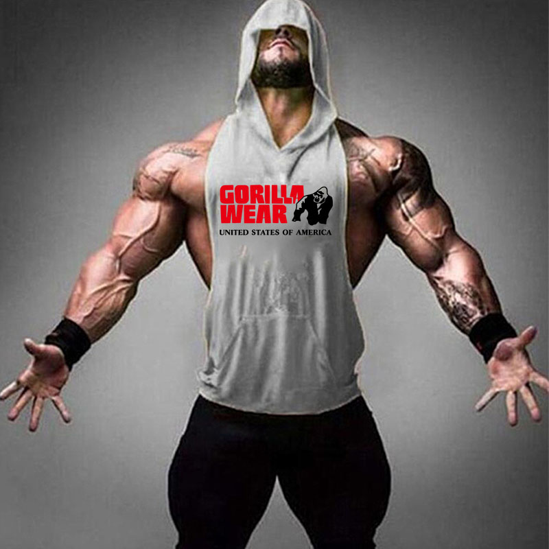 Summer New Men Bodybuilding Cotton   Tank     top   Gyms Fitness Gorilla Wear Hooded Vest Sleeveless Hoodie Casual Fashion