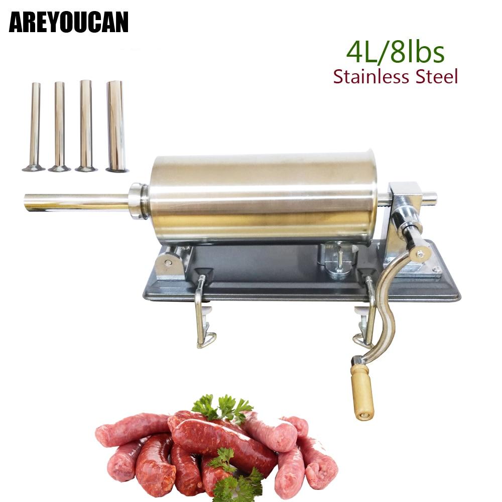 8 lbs/4 kg Máquina Manual de embutidor de salchichas de acero inoxidable Horizontal que hace relleno Vertical de salchichas-in Rellenos from Hogar y Mascotas    1