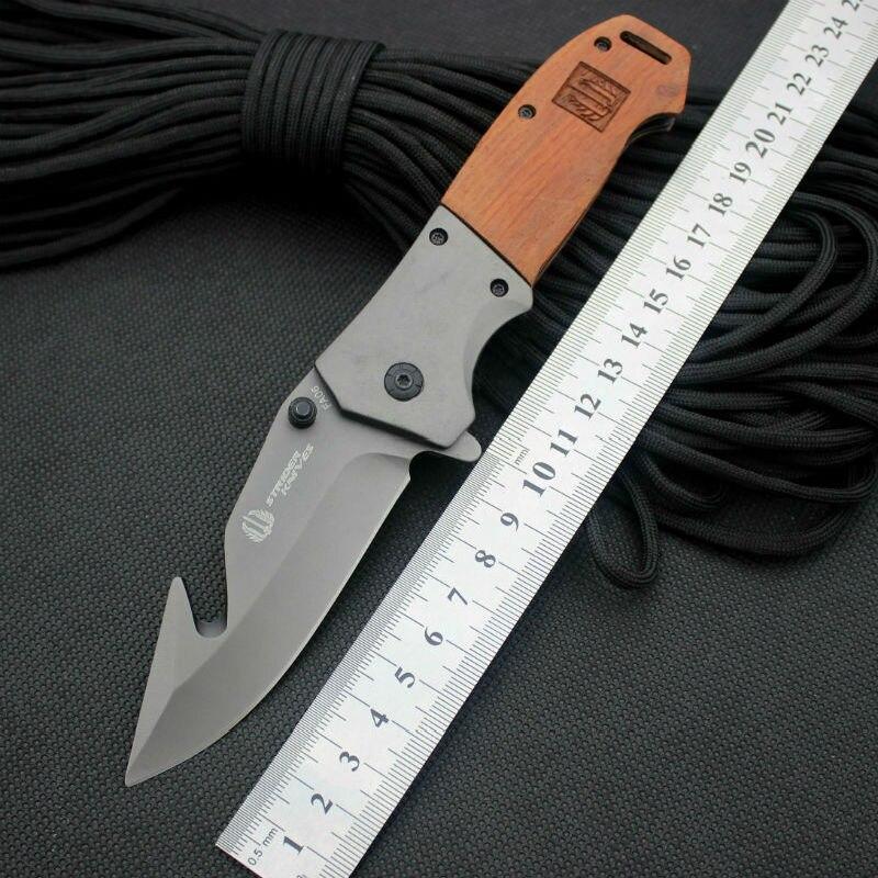 Folding font b Knife b font Strider 5CR13MOV Blade Steel Wood Handle Survival font b Knife