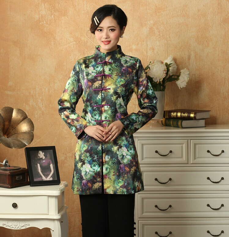 Fashion Casual dress New Spring Autuman Traditional Chinese Style   Trench   Coat of women Green MN0088