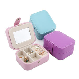 TONVIC Leatherette Jewelry Display Box Travel Portable Storage Case Ring Bracelet Eearring Necklace Beads Compartments Tray