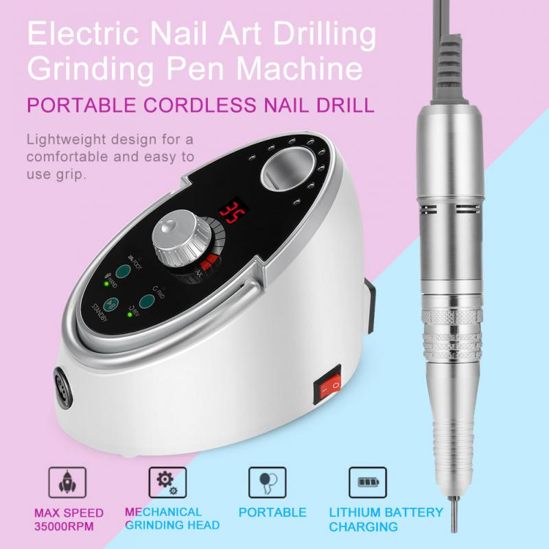 65W 35000RPM Electric Nail Art Drilling Grinding Pen Machine Set Manicure Pedicure Tools With Foot Switch