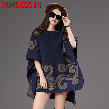 2018 Plus Size Knitted Loose Women Poncho Autumn Winter Sweater Fashion Casual Bat Sleeves Printed Pullovers Lady Coat plus size fringed zigzag poncho sweater