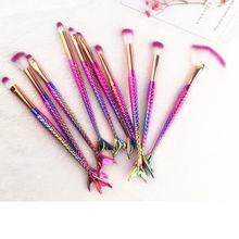 6/10PCS Mermaid Makeup Brushes Set Eyeshadow Eyebrow Eyeliner Blush Contour Foundation Lip Cosmetic Beauty Make Up Brushes Kits