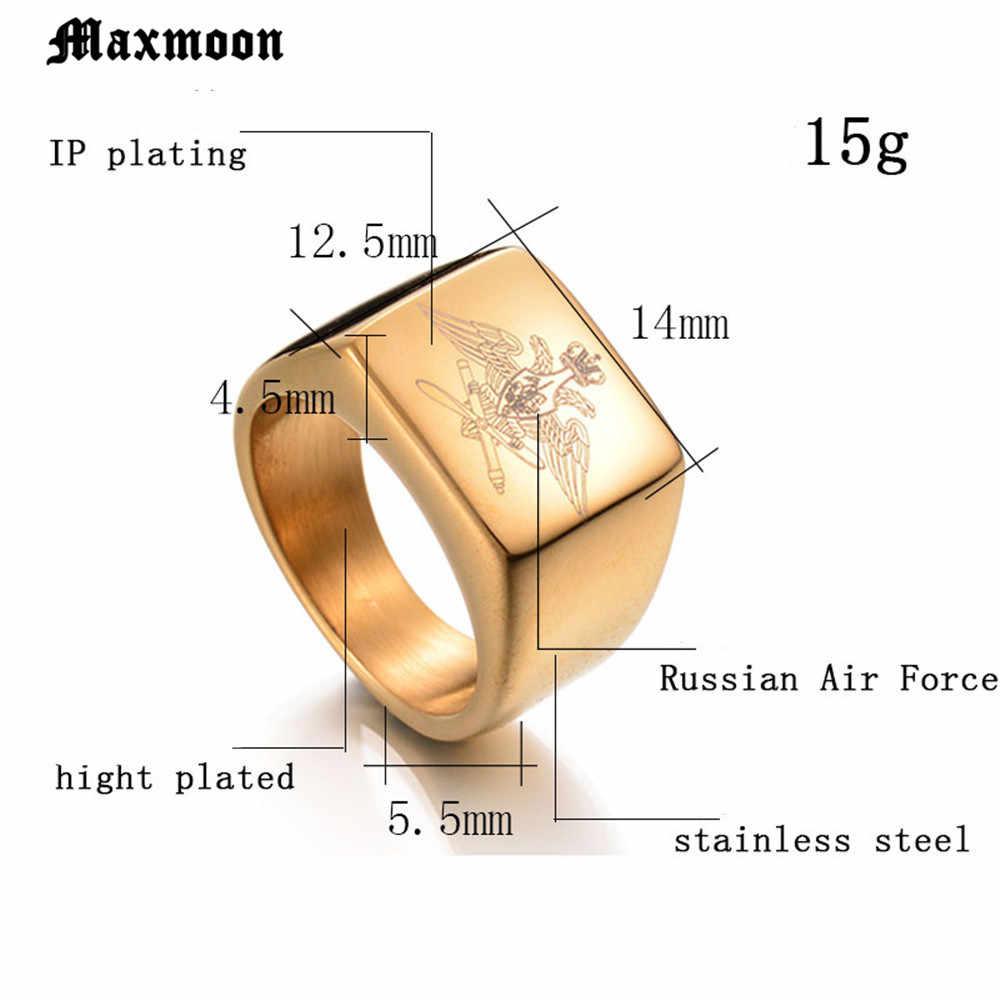 Maxmoon 316L Águia Aço Inoxidável Signet Anel Banda Midi Anel da Força Aérea Do Exército Da Marinha Russa Homens Motociclista Anel Gravado A Laser jóias