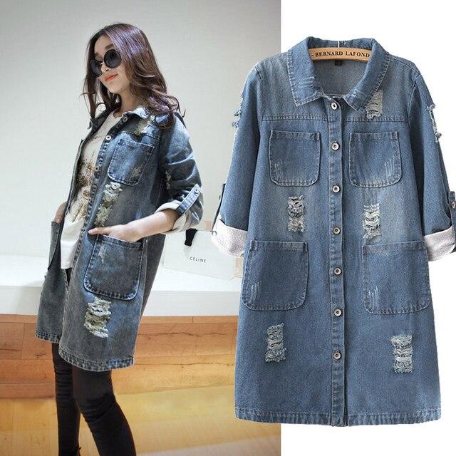 Plus Size s 5xl Autumn denim Coat 2017 Fashion Women Vintage ...