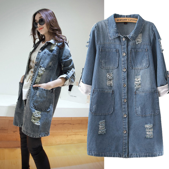 Plus Size S 5xl Autumn Denim Coat 2018 Fashion Women