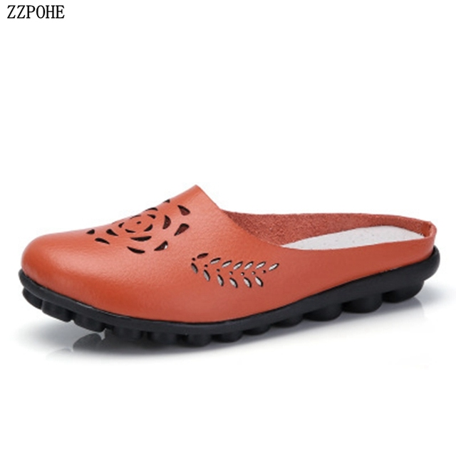 ZZPOHE 2018 Summer women flats shoes women genuine leather shoes woman slip  on Beach shoes female Sandals free shipping 14cde69d32a7