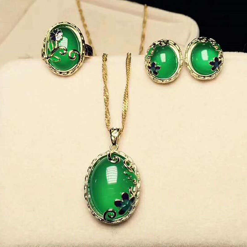 Yu Xin Yuan Fine jewelry  cloisonne  green jade jewelry ring of necklace earrings ring 925 three chalcedony suit cloisonne craft