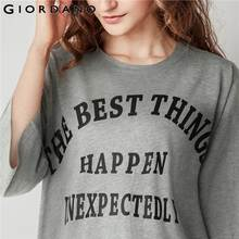 Giordano Women Letter Dress Fashion Summer Dress Crewneck Printed Dresses Female Casual Women Clothing Robe Femme Ete 2018