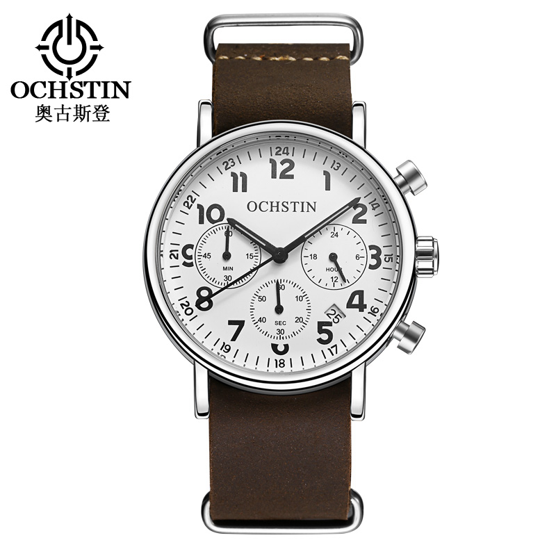 OCHSTIN Military Watches Men Quartz Analog Chronograph Date Leather Clock Man Sports Watches Army Watch Relogios Masculino081A weide new men quartz casual watch army military sports watch waterproof back light men watches alarm clock multiple time zone
