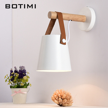 BOTIMI Nordic Wood Wall Lamps Modern Mounted Luminaire Iron Sconce For Bedside Light Bedroom Lighting fixtures