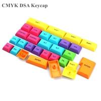 Pbt dsa 키 캡 oem keycap 염료 subbed 다채로운 keycaps 수정 자 diy 게임 기계 키보드 체리 스위치