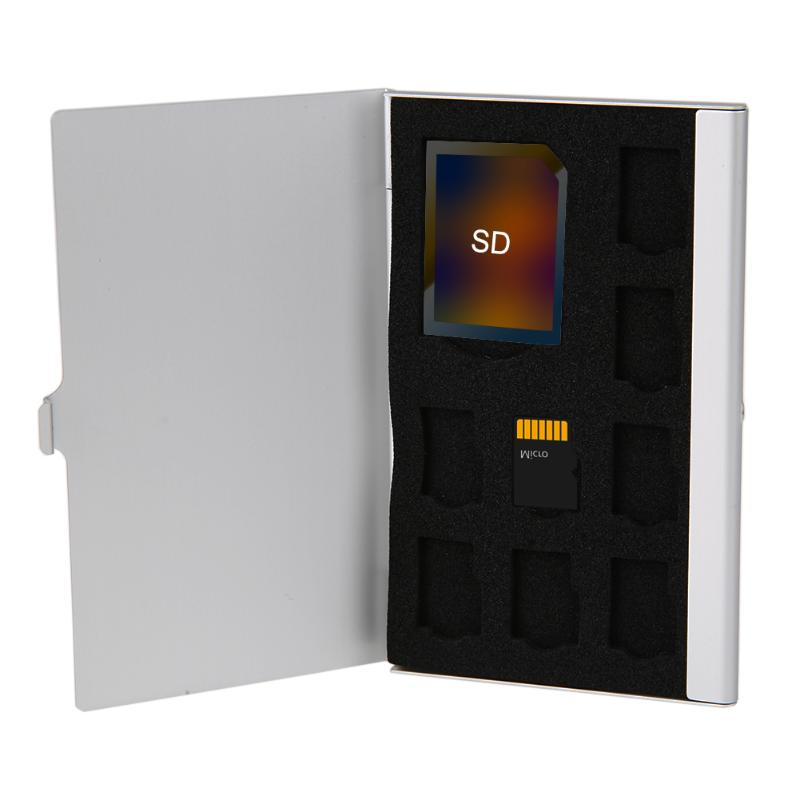 ALLOYSEED Monolayer Aluminum Alloy Micro SD TF Memory Card Storage Box Protector Holder Hard Case Memory SD Card Protective Case