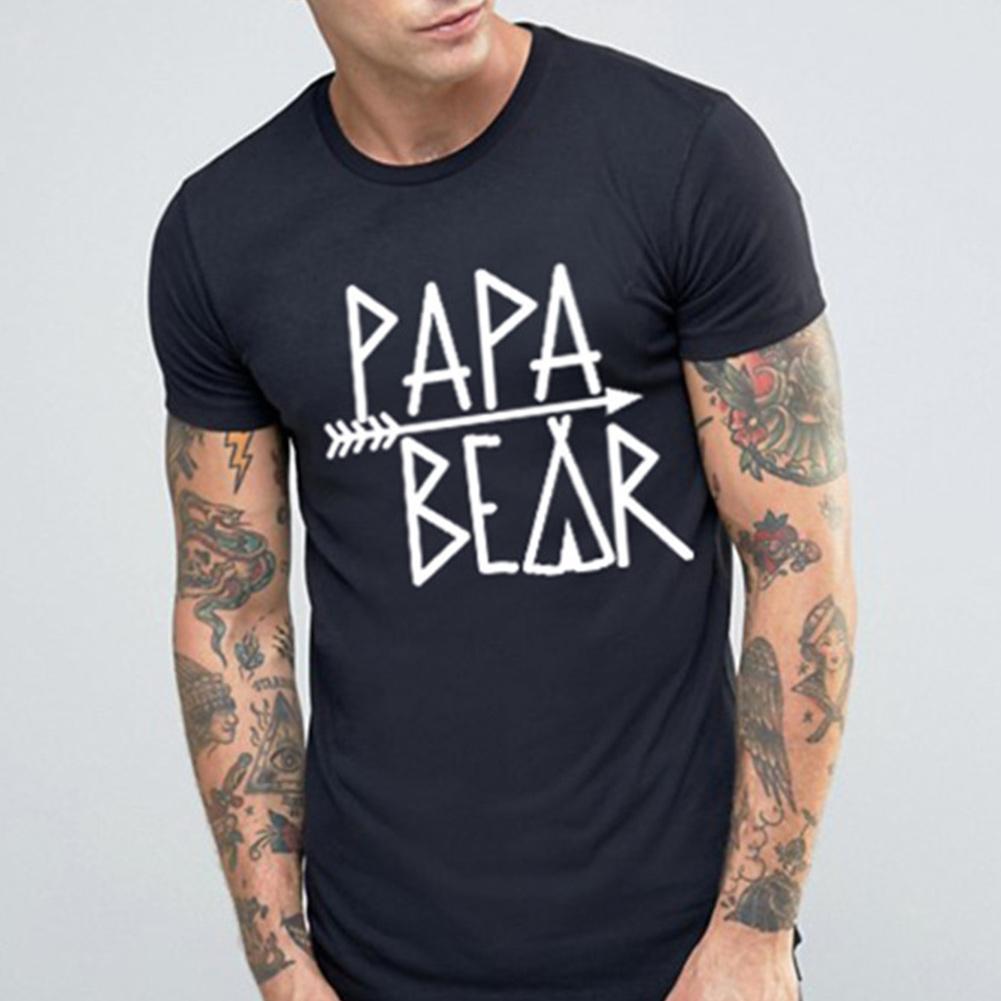 Men T Shirt Letter Printed Papa/Mama/Baby Bear Tops Casual O Neck Short Sleeve Parent-child T-shirt for Father Mother Kids #1126