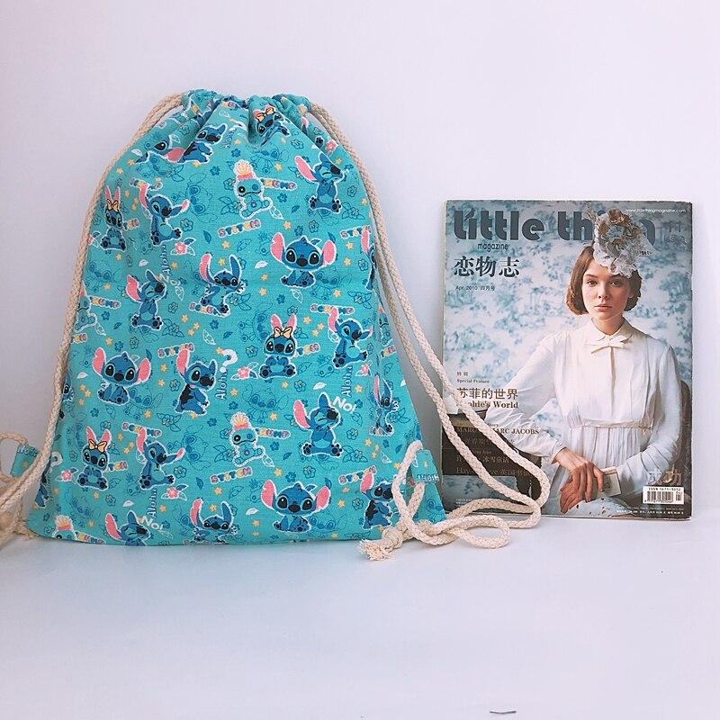 Canvas Backpacks String-Bags Anime Knapsack Fashion Casual Cartoon New Unisex STITCH