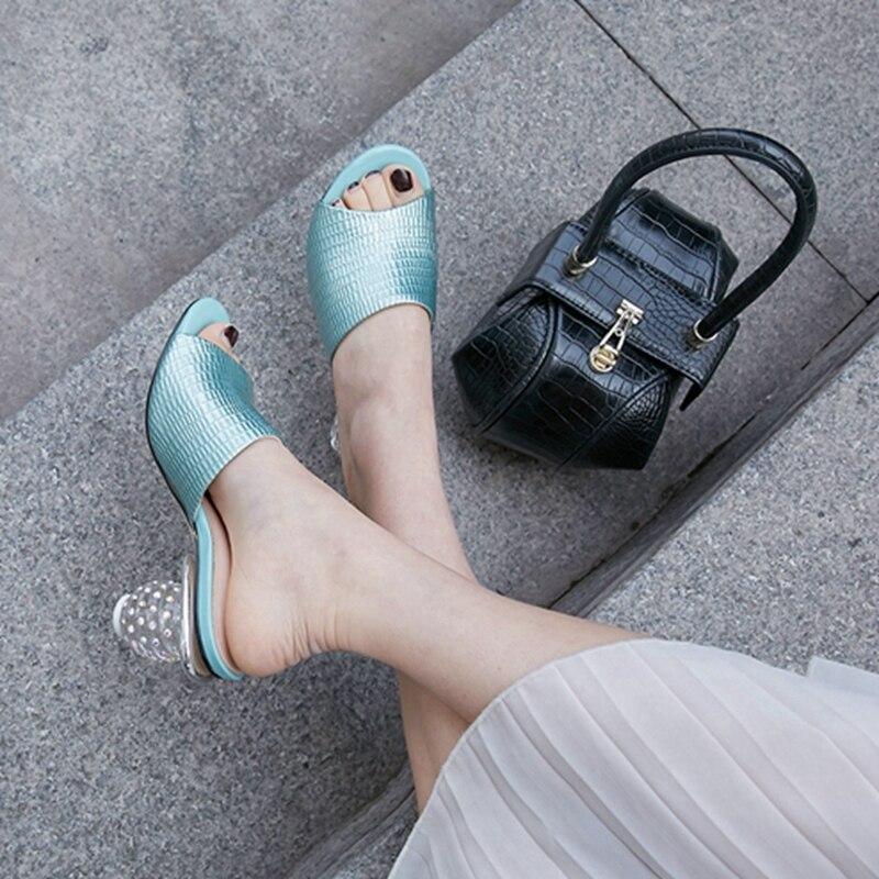 Simloveyo Superficiale Cuoio Nuove Green Scarpe Sexy Da Donne Genuino Donna Estate Del Peep Formato Toe Rosso Delle Pantofole 2019 Eleganti red Grande Muli r1crgC