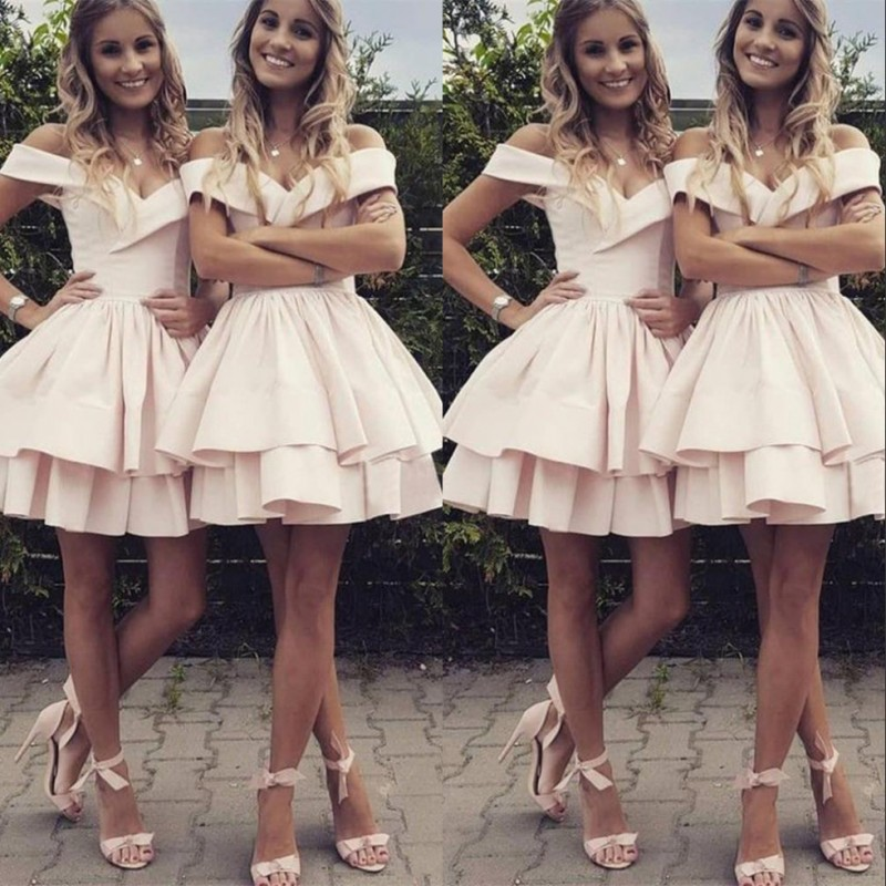 Pink Short   Bridesmaid     Dress   Off The Shoulder Stain 2018 New A Line Tiered Skirt Wedding Guests Girls Prom Party Formal Gown