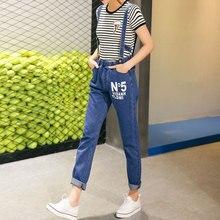 Новая коллекция весна и лето 2016 мода свободные Джинсовые Комбинезоны С Нагрудниками брюки подтяжки письма
