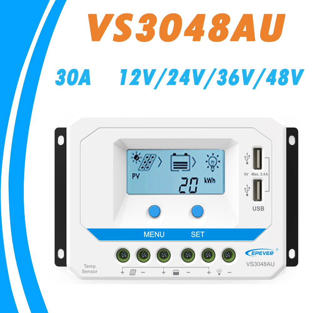 EPEVER <font><b>30A</b></font> <font><b>Solar</b></font> <font><b>Controller</b></font> 12V 24V 36V 48V Auto VS3048AU <font><b>PWM</b></font> <font><b>Charge</b></font> <font><b>Controller</b></font> with Built in LCD Display and Double USB 5V Port image