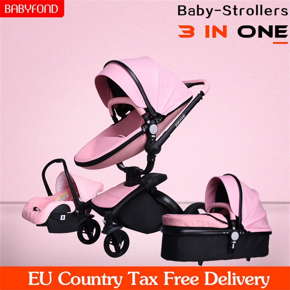 Babyfond Luxury Leather Material Aluminum Alloy Frame 3-in-1 Stroller Can Sit Reclining High Landscape Multi-color OptionalBabyfond Luxury Leather Material Aluminum Alloy Frame 3-in-1 Stroller Can Sit Reclining High Landscape Multi-color Optional
