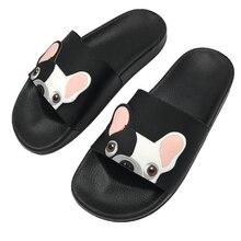 2f80f32bb91 2018 mujeres del verano Bulldog zapatillas Sandalias planas cómodas zapatos  de playa lindo divertido baño piso