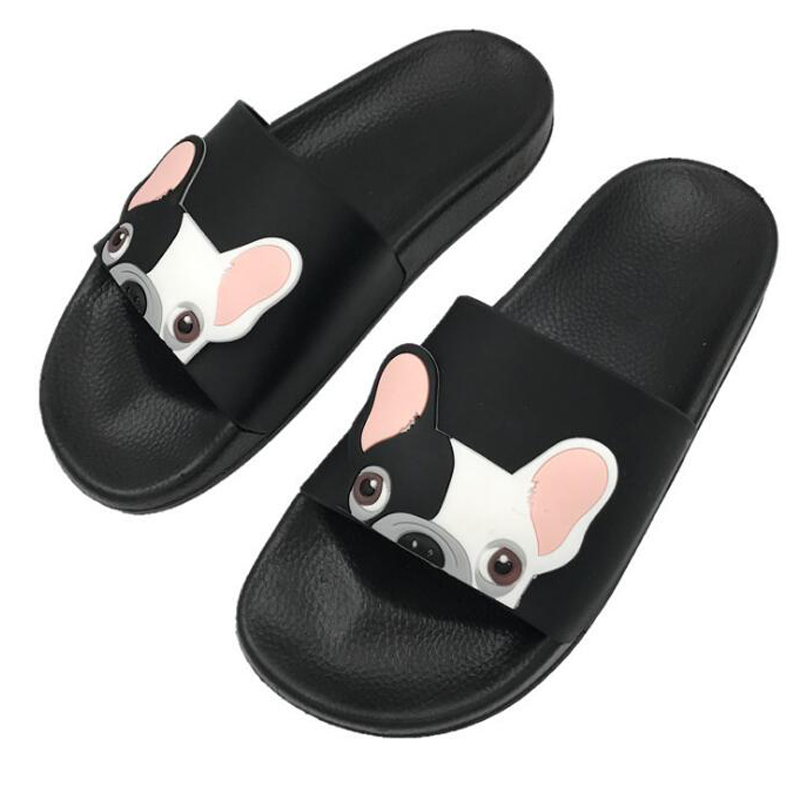 2020 Summer Women Bulldog Slippers Cartoon Sandals Flat Comfortable Beach Shoes Cute Funny Bathroom Floor Home Slippers