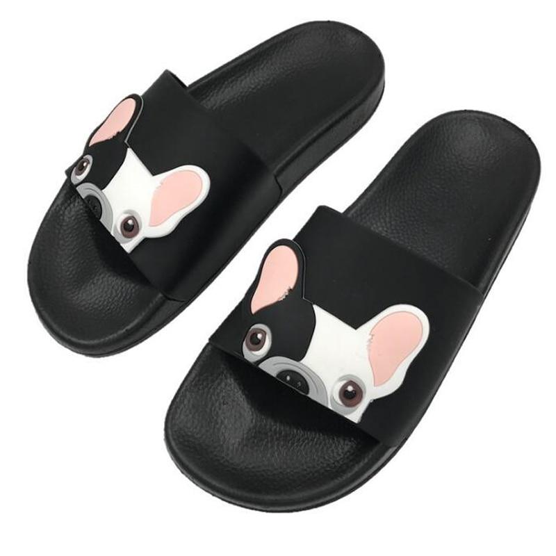 2020 Summer Women Bulldog Slippers Cartoon Sandals Flat Comfortable Beach Shoes Cute Funny Bathroom Floor Home Slippers