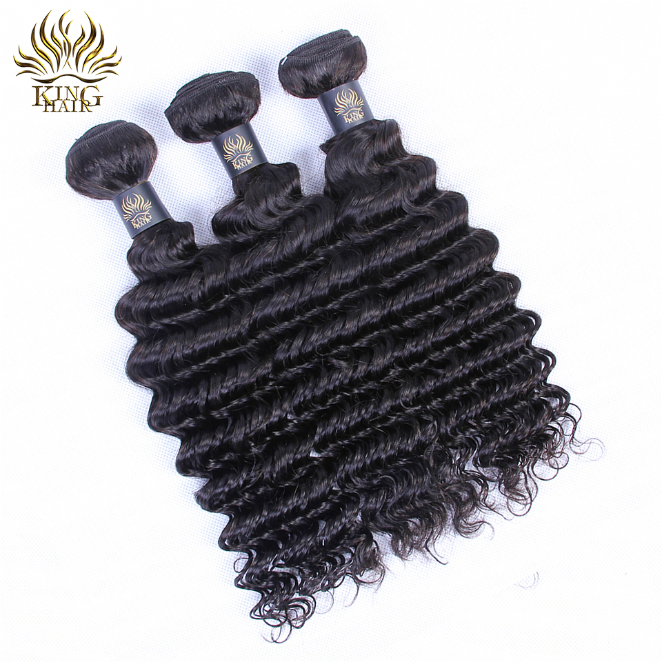 King Hair Store Peruvian Virgin Hair Deep Wave 100% Curly Weave Human - Menneskehår (sort)